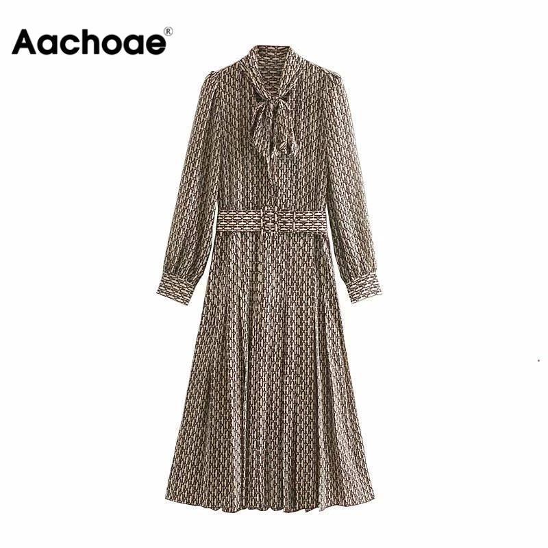 Aachoae Women Elegant Long Dress with Belt Chain Print Bow Tie Neck