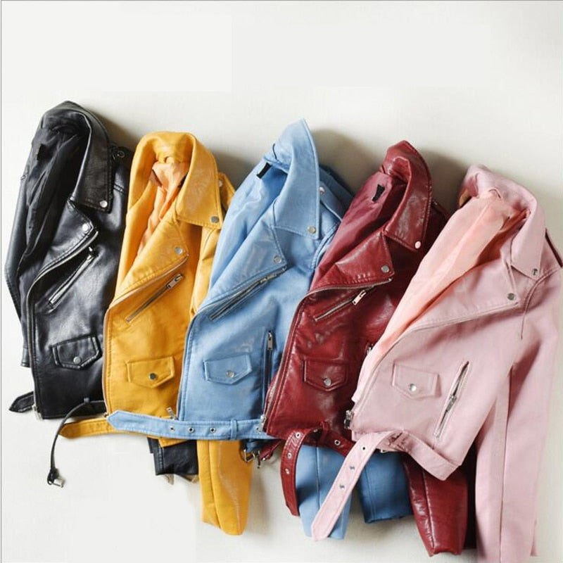 Ftlzz Pu Leather Jacket Women Fashion Bright Colours