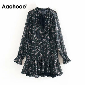Aachoae Women Ruffle Bow Tie Mini Floral Print Dress Vintage Long Sleeve