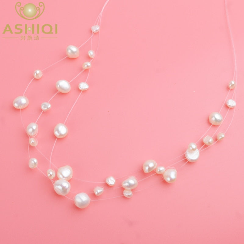 ASHIQI Multilayer White Natural Baroque Pearl Choker Necklace for Women