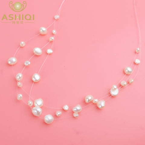 Image of ASHIQI Multilayer White Natural Baroque Pearl Choker Necklace for Women