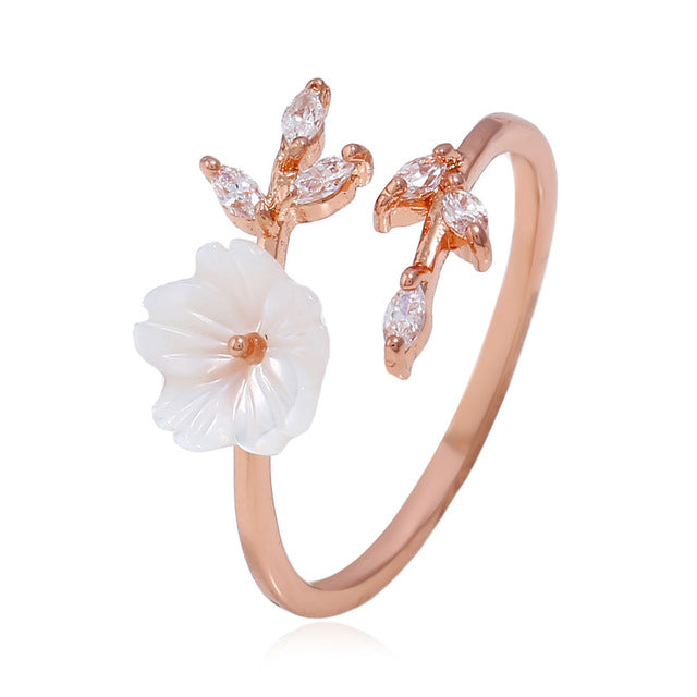 New Crystal Copper Flower branch leaf Adjustable Finger  Ring