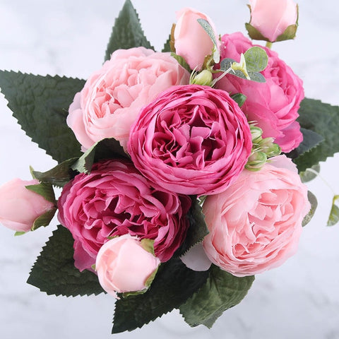 30cm Rose Pink Silk Peony Artificial Flowers Bouquet 5 Big Head and 4 Bud