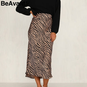 BeAvant Zebra stripe women midi skirt High waist straight animal print  skirt