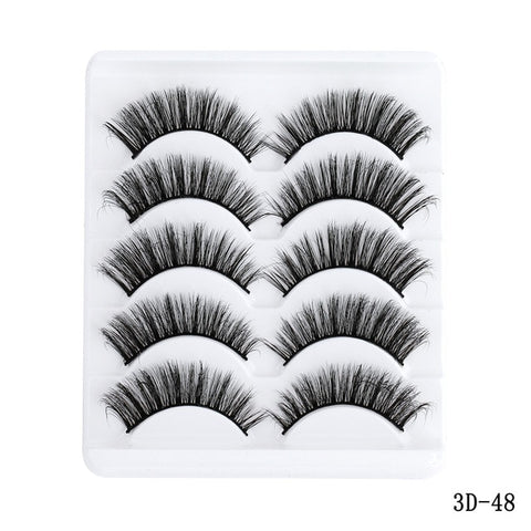Image of 5 Pairs Multipack 5D Soft Mink Hair False Eyelashes Handmade Wispy Fluffy Long Lashes