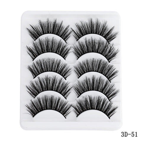 5 Pairs Multipack 5D Soft Mink Hair False Eyelashes Handmade Wispy Fluffy Long Lashes