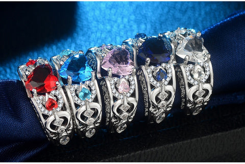 Charm Multicolor 925 Sterling Silver Princess Heart Zircon Engagement Rings