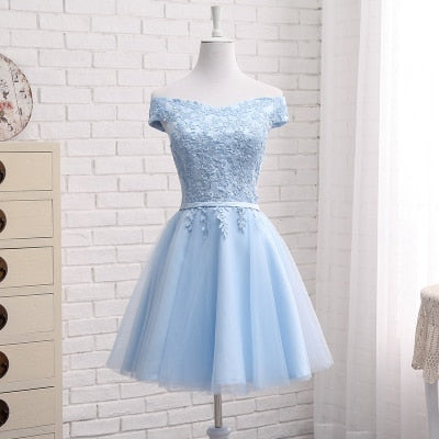 MNZ502L#embroidery blue lace up bridesmaid dresses