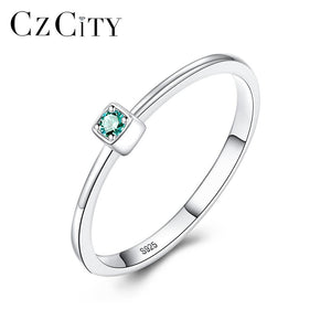 CZCITY Genuine 925 Sterling Silver VVS Green Topaz Wedding Rings