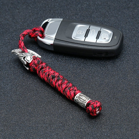 Viking Rune Bead Lanyard Keychain Outdoor Survival Paracord Rope Keychain