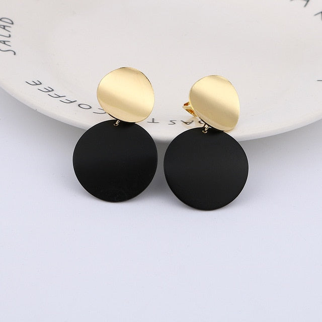 Fashion Non Pierced Clip On Earrings Gold Black Metal