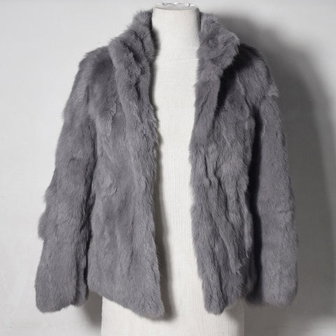 Image of High Quality Real Fur Coat Genuine Rabbit Fur Overcoat