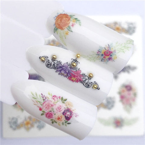 YZWLE Flower Series  Nail Art Water Transfer Stickers