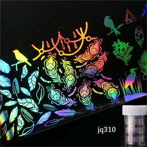 Image of 4*100cm/Roll Holographic Nail Foil Flame Dandelion Panda Bamboo Holo Nail Art Transfer Sticker Water Slide Nail Art Decals