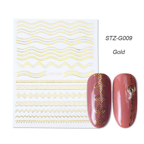 Image of 1pcs Gold Silver Sliders 3D Nail Stickers