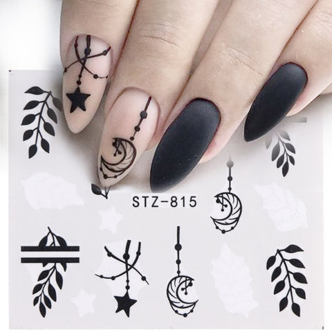 Image of 1pcs Water Nail Decal and Sticker Flower Leaf Tree Green