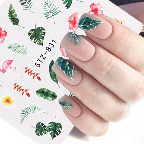 1pcs Water Nail Decal and Sticker Flower Leaf Tree Green