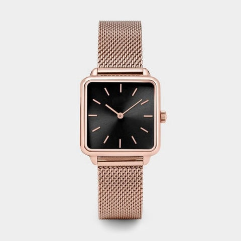 Image of New Stylish Gold Silver Dial Square Women Watch