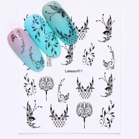 Image of Geometric Nail Water Decals Line Dreamcacher Heart Moon Nail Disign Water Stickers