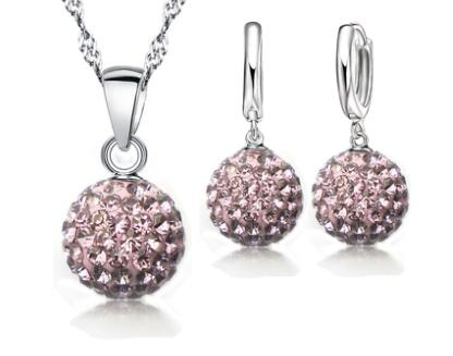 Image of 925 Sterling Silver Bridal Rhinestone Jewelry Sets