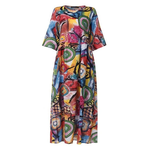 Image of 2020 Summer Bohemian Printed Dress ZANZEA Long Maxi Dresses Women Vintage Vestido Robe Pleated Plus Size Femme 3/4 Sleeve Tunic