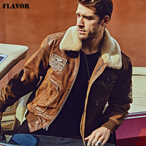 FLAVOR New Men's Real Leather Bomber Jacket with Removable Fur Collar