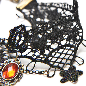Victorian Gothic Halloween Red Rhinestone Charms Vampire Maxi Necklace