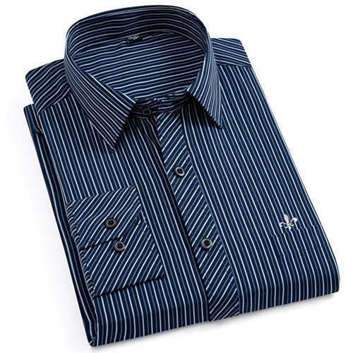 Dudalina New  Men's Long Sleeve Striped Classic-fit Shirt
