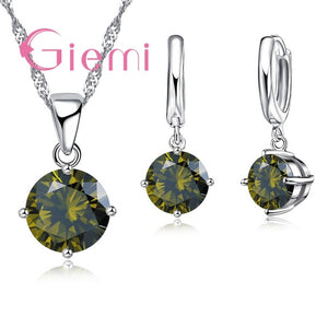 925 Sterling Silver Pendant Necklace Earrings Set