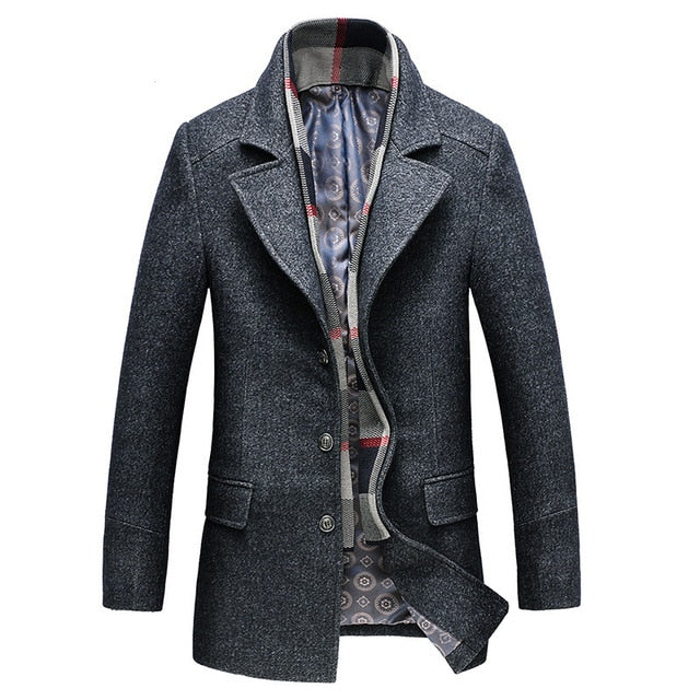 BOLUBAO Men Winter Wool Coat Men's Turn-down Collar Solid Color Warm Thick Wool Blends