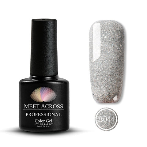 Image of MEET ACROSS 7ml Nail Polish Holographic Glitter Platinum UV Nail Gel