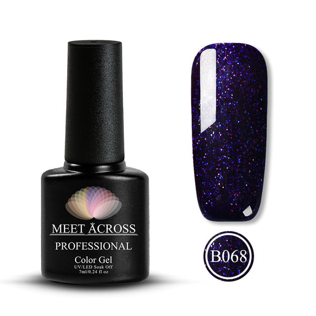 MEET ACROSS 7ml Nail Polish Holographic Glitter Platinum UV Nail Gel