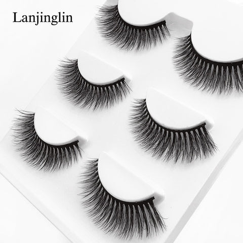 new 3 pairs mink eyelashes natural false eyelashes 3D