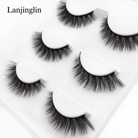 Image of new 3 pairs mink eyelashes natural false eyelashes 3D