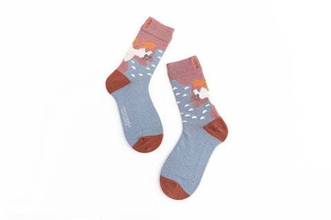 Image of Unisex Painting Style Men Socks 100 % Cotton Harajuku Colorful Full