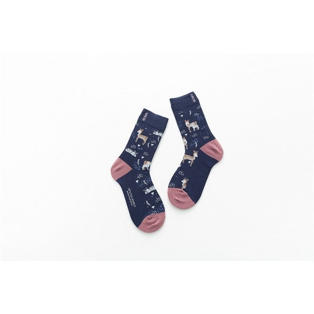 Unisex Painting Style Men Socks 100 % Cotton Harajuku Colorful Full