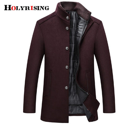 Holyrising Wool Coat Men Thick Overcoats Topcoat