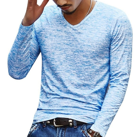 Men Casual T Shirts Long Sleeve Print Tops V neck Slim Fit