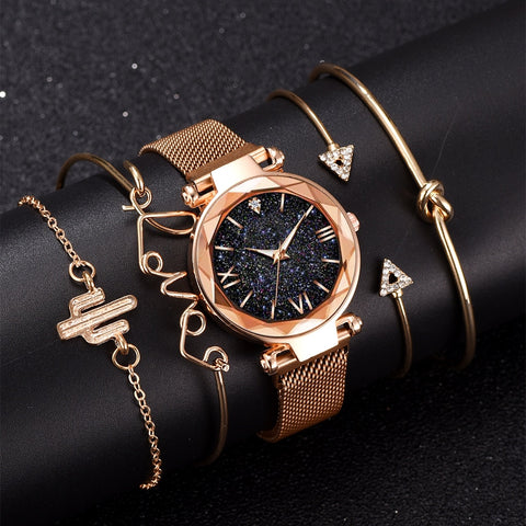 Image of Luxury Brand Rose Gold Starry Sky Dial Watch