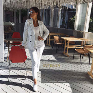 Work Pant Suits OL 2 Piece Sets Double Breasted Striped Blazer Jacket & Zipper Trousers