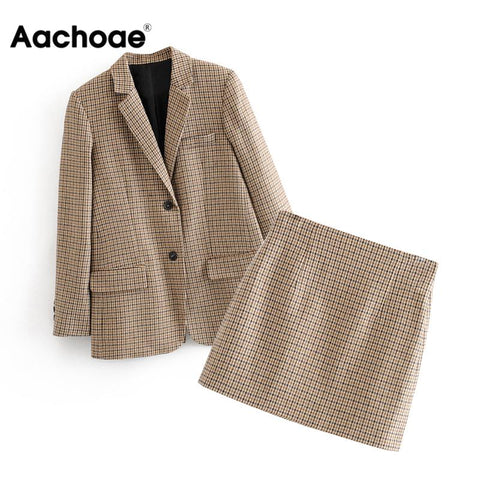 Women Two Piece Set Houndstooth Single Breasted Blazer With High Waist Chic Mini Skirt