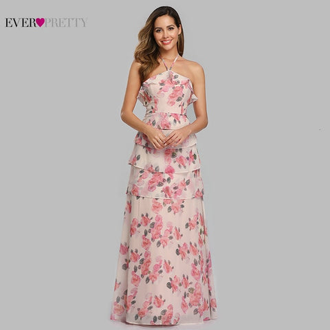 Ever Pretty Elegant Evening Dresses Long A-Line Off Shoulder Floral Print Chiffon