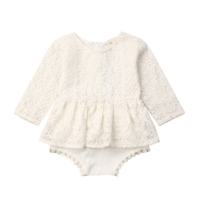Pudcoco 0-24M Newborn Baby Girls Autumn Clothes Flower Lace Romper Dress