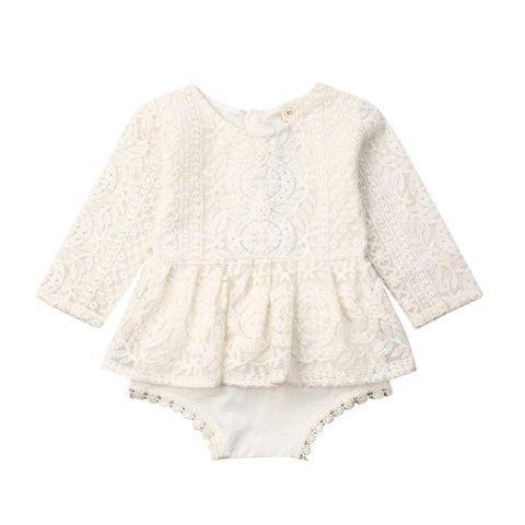 Image of Pudcoco 0-24M Newborn Baby Girls Autumn Clothes Flower Lace Romper Dress