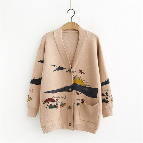 Image of Cardigan Sweater Women's Autumn And Winter New Loose Cute Print Long Sleeve