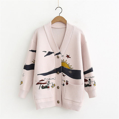Cardigan Sweater Women's Autumn And Winter New Loose Cute Print Long Sleeve