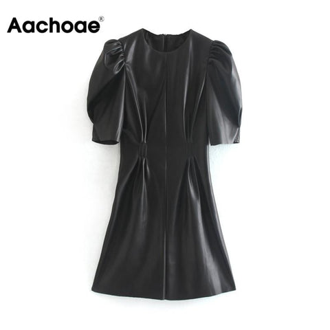 Aachoae Faux Leather Dress Women Sexy Club Puff Short Sleeve