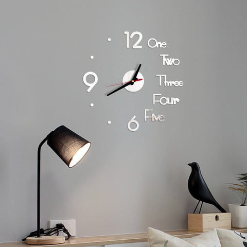 Image of DIY digital Wall Clock 3D Mirror Surface Sticker Silent Clock Home Office Decor wall Clock for bedroom office