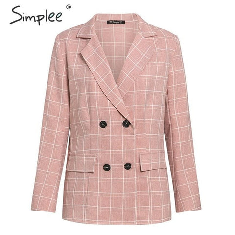 Simplee Fashion plaid women blazer suits Long sleeve double breasted blazer pants