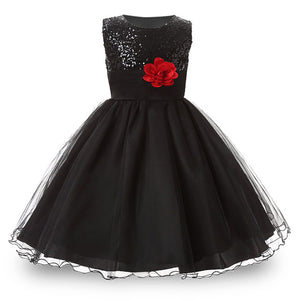 3-14yrs Hot Selling Baby Girls Flower sequins Dress High quality Party Princess Dress Children kids clothes 9colors